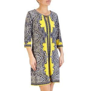 Yellow midi dress with keyhole neck